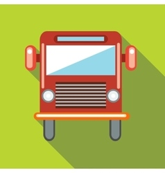 Red cargo truck icon in flat style vector