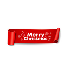 red roll paper merry christmas design vector image