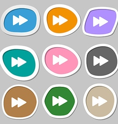 rewind icon symbols Multicolored paper stickers vector image