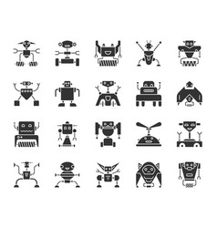 robot black silhouette icons set vector image