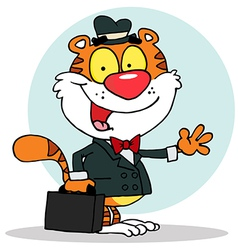 Salesman Tiger Waving And Carrying A Briefcase vector image