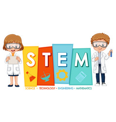 Scientist kids cartoon character with stem logo vector