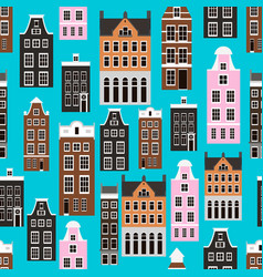 Seamless pattern with amsterdam houses vector