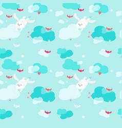 seamless pattern with cute flying rabbits vector image