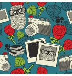 Seamless pattern with smart owl vector