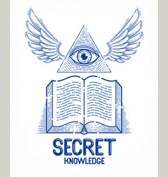 Secret knowledge vintage open winged book with vector