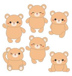 set of cute bears set of cute bears vector image