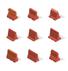 set of plastic road barriers in 3d vector image
