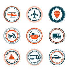 Set of vintage transportation stamps icons vector