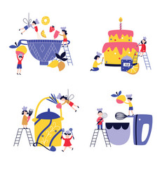 set small children cooking giant cake and in vector image