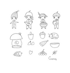 set with little cute gnomes forest elves vector image