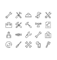 Simple set repair related line icons vector