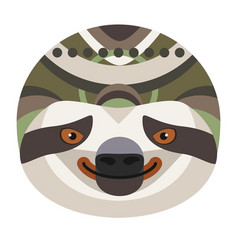 Sloth head logo decorative emblem vector