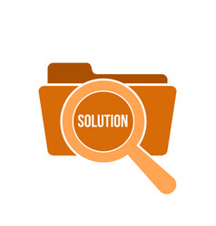 solution word magnifying glass vector image