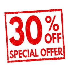 special offer 30 off grunge rubber stamp vector image
