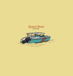 Speed boat hand draw vector