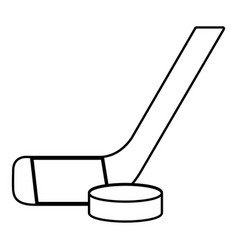 Stick washer ice hockey icon outline style vector