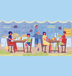 street food cafe employees and visitors banner vector image