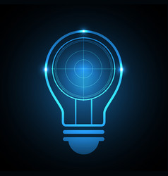 Technology future radar screen light bulb vector