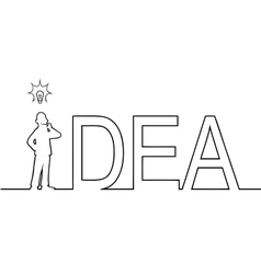 The word IDEA with a man standing in it vector
