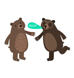 two cartoon bears with speech bubble vector image