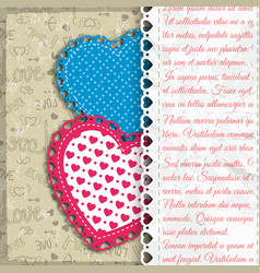 two colored textile hearts composition vector image
