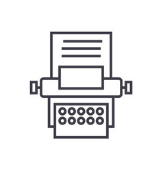 Type writer line icon sign vector