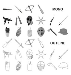 Types of weapons monochrom icons in set collection vector