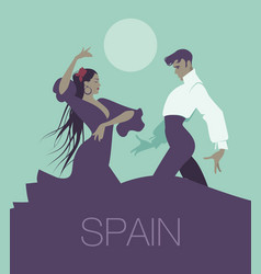 typical spanish dance handsome man and beautiful vector image
