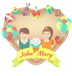 Valentines Day Card with a couple in love vector image