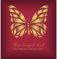 Vintage gold beautiful butterfly vector image