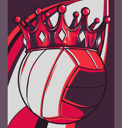 Volleyball ball with royal crown king sport vector