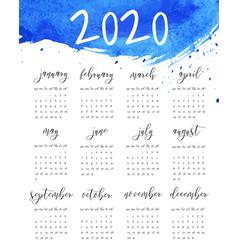 watercolor ink calendar template 2020 year vector image