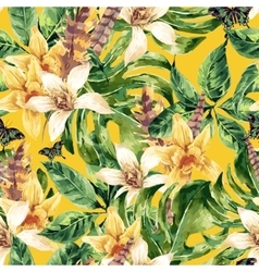 Watercolor seamless pattern tropical green vector