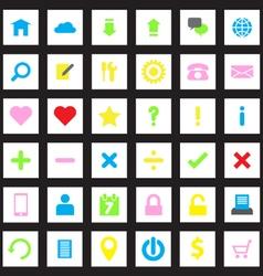 web icon set flat style on rectange vector image
