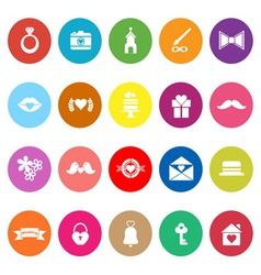 Wedding flat icons on white background vector image