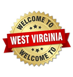 West Virginia 3d gold badge with red ribbon vector