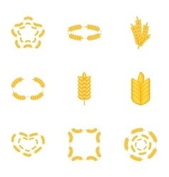 Wheat pattern icons set cartoon style vector image