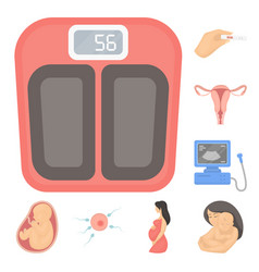 woman and pregnancy cartoon icons in set vector image