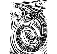 Woodcut Dragon vector image