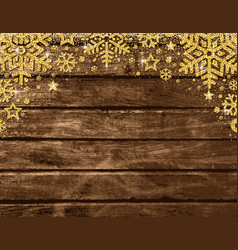 wooden christmas card with frame of golden vector image
