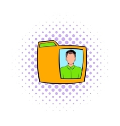 Yellow folder with male photo icon comics style vector image