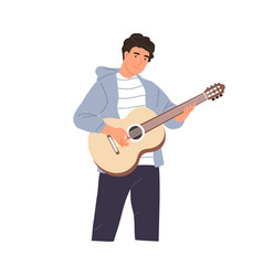 Young musician performing music on acoustic guitar vector