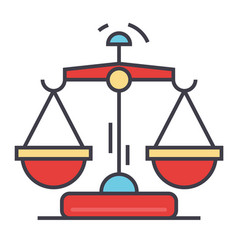 law and justice scales concept line icon vector image