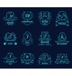 Monograms shields set vector image