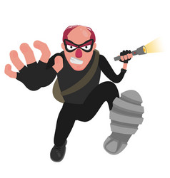 A balding thief in a mask runs with a flashlight vector