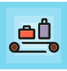 Flat check luggage for airport icon vector