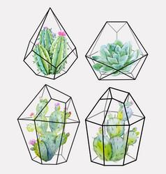 watercolor cactus set vector image vector image