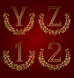 y z vintage monograms and 1 2 numbers in floral vector image