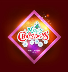 christmas greeting card with square frame vector image
